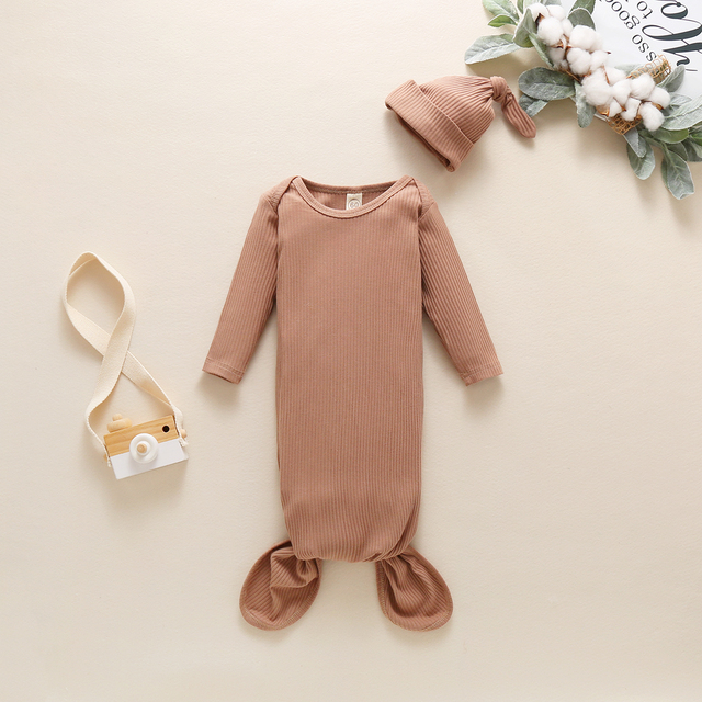 Toddler Newborn Baby Sleeping Bag Sacks Infant Solid Ribbed Long Sleeve Blanket Swaddle Wrap+Hat 2pcs Baby Bedding Clothes 3