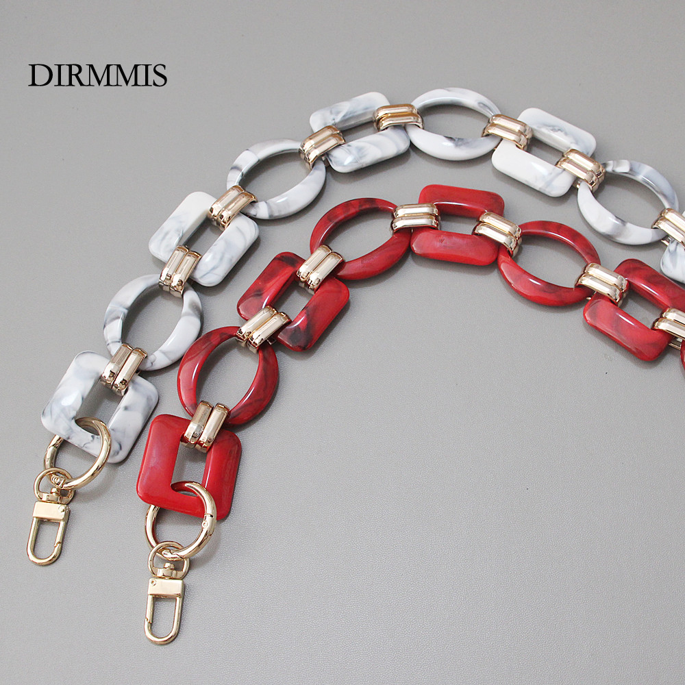 2020 New Fashion Woman Bag Accessory Detachable Replacement Red Ink Acrylic Metal Chain Luxury Strap Women Shoulder Clutch Chain