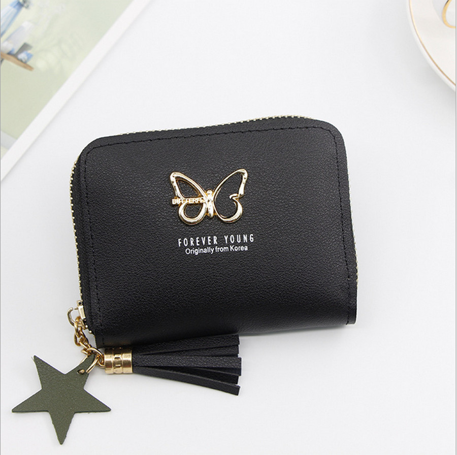 Ladies Wallet Cute Student Tassel Pendant Small Fashion PU Wallet 2019 Coin Purse Lady Card Bag