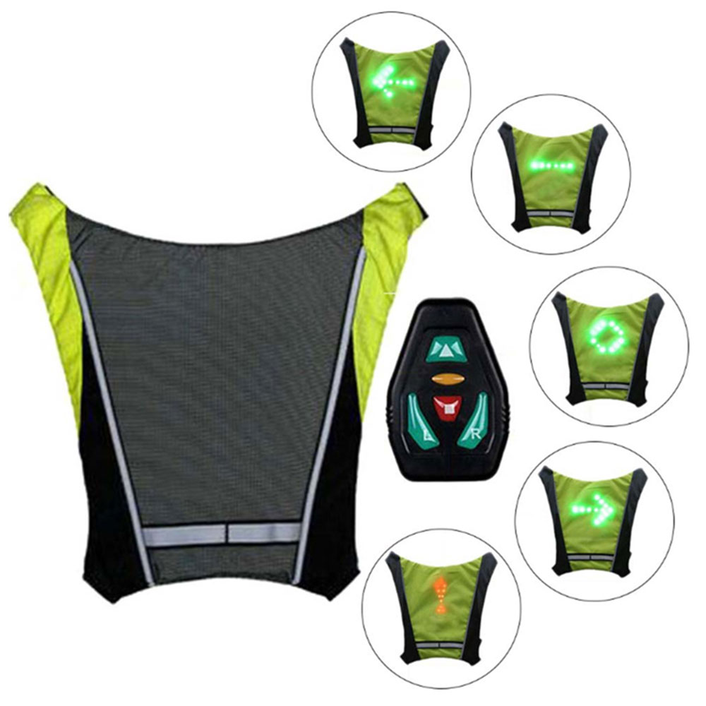 Bicycle LED Light Warning Backpack Flashing Turn Light Vest Lamp Riding Backpack Wireless With Remote Control For Traveling