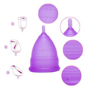 Image 2 - Copa de higiene reutilizable para mujer, 100% Menstrual de silicona de grado médico, para el cuidado de la salud, copa menstrual