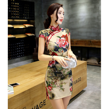 New Improved Cheongsam Dress Fashion Elegant Hand-Painted Flowers Daily Short Spring And Summer Dress Cheongsam Temperament традиционное китайское платье brand new peking cheongsam ccw005