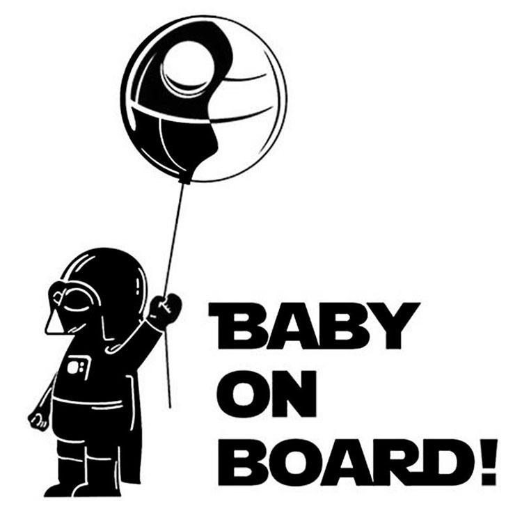 Black White Cool Boy Funny Car Sticker Star Wars BABY ON BOARD in Car Warning Reflective Vinyl Window Wall Home Decal in Car Stickers from Automobiles Motorcycles