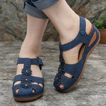 Summer Gladiator Women Sandals Wedges Heel Flower Platform H
