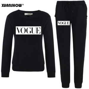 XUANSHOW Outfits 2020 Autumn Winter Women's Suit VOGUE Letter 0-Neck Fleece Keep Warm Clothes Sweatshirt + Long Pant 2 Piece Set