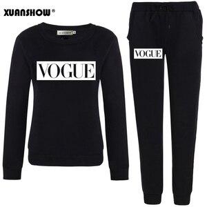 XUANSHOW Outfits 2020 Autumn Winter Women's Suit VOGUE Letter 0-Neck Fleece Keep Warm Clothes Sweatshirt + Long Pant 2 Piece Set