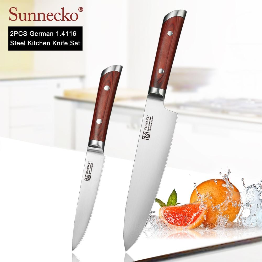 """SUNNECKO 2PCS Keukenmessen Set 8 """"Chef 5"""" mes Duitse 1.4116 Staal Kleur Houten Handvat Sharp vlees Fruit Cut Chef Messen-in Messenset van Huis & Tuin op  Groep 1"""