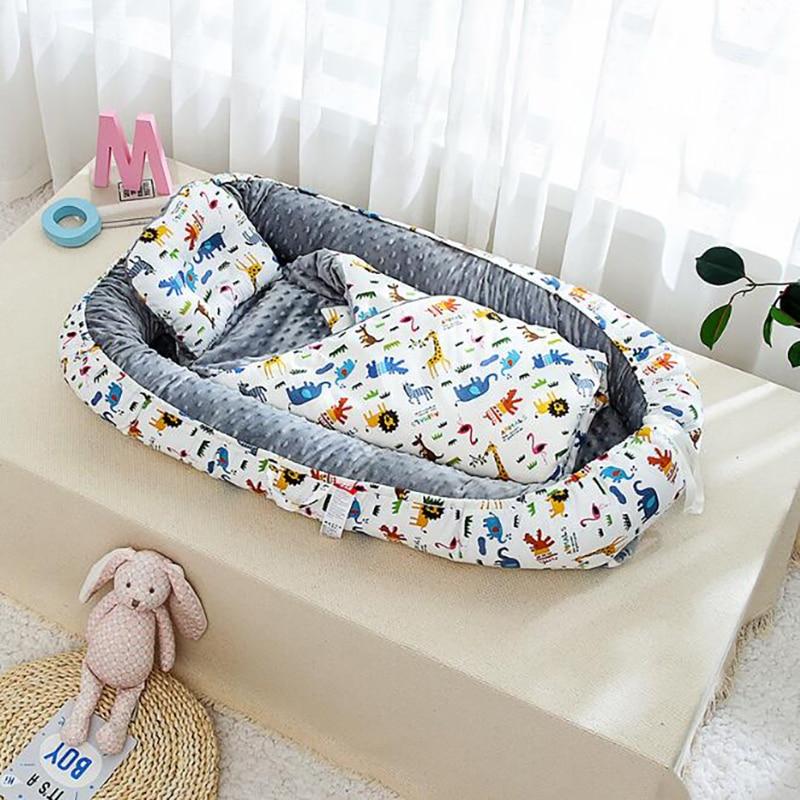 Newborn Crib Portable Travel Bed Velvet Baby Sleeping Basket Care Double Sided Cotton Cot  Bedding 2 Pcs/set YHM031
