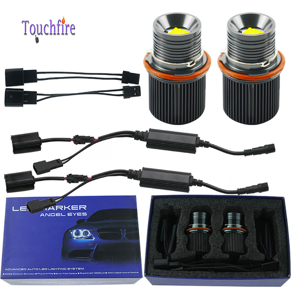 2pcs 80W <font><b>LED</b></font> CANBUS No error 16 import Chip Marker Angel Eyes light white for <font><b>BMW</b></font> X5 E39 E53 <font><b>E60</b></font> E61 E63 E64 E65 E83 E66 <font><b>Headlight</b></font> Lamp Fog Light 6000K image