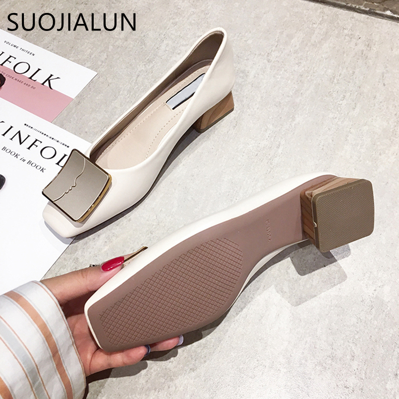SUOJIALUN Luxury Women Spring Flat Shoes Square Toe Medium Heels Fashion Metal Boat Low Heels Shoes Women Dress Shoes in Women 39 s Flats from Shoes