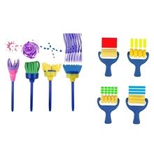 Gąbki pędzle malarskie dla dzieci 8 paczek wczesne uczenie się rysunek narzędzia do malowania zestaw dla DIY sztuka i rękodzieło Besom Brush tanie tanio