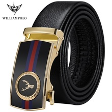 WilliamPolo full-grain leather Brand Belt Men Top Quality Genuine Luxury Leather