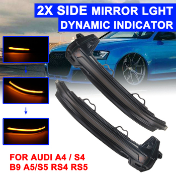 1 Pair Rearview Mirror Signal Lamp Highlight LED Car Dynamic Turn Light Yellow For Audi A4/S4 B9/8W A5/S5 B9/8F 2015-2016
