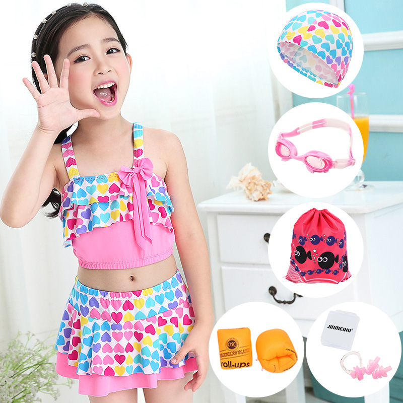Girl'S Swimsuit Middle And Large Swimwear Baby Princess Dress-Pants Small Split Type Child Tour Bathing Suit Sexy Dacron No