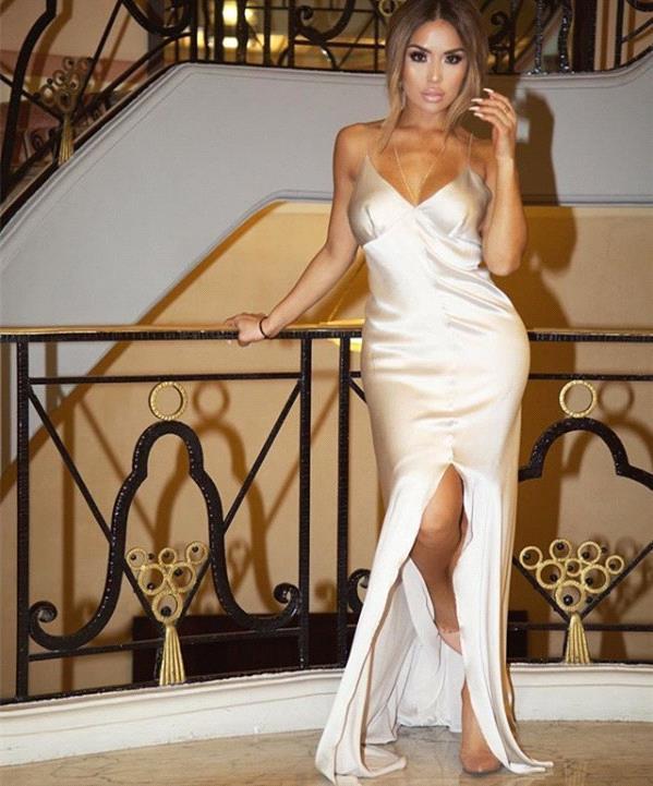 Sexy Spaghetti sangle tache robe de soirée fendue sirène robe de soirée Dubai liban longue formelle robe de soirée vestidos largo