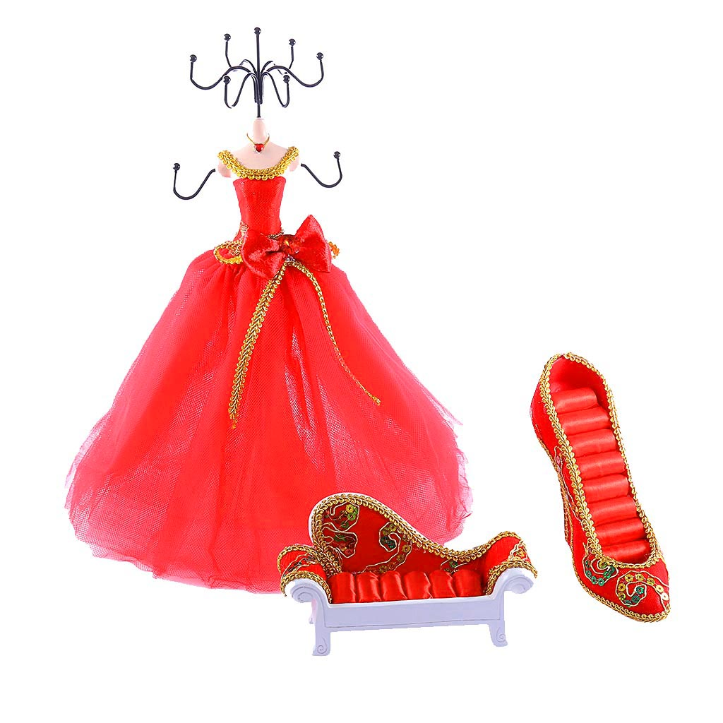 Red Wedding Party Mannequin Necklace Ring Jewelry Display Stand Holder Rack