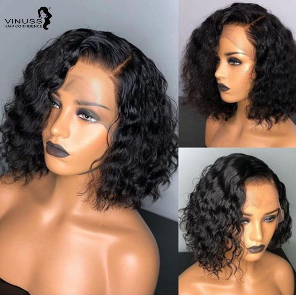 10inch Short BOB Curly 150% Density For Women Brazilian Remy Human Hair Front Lace Wigs Curly Wig 13X6 Pre Plucked Deep Part