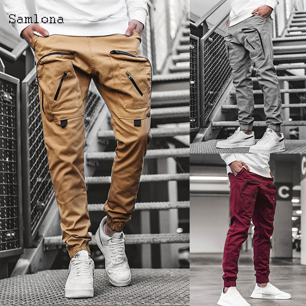 Fashion Leisure Cargo Pants Pockets Zipper Pants Men Summer Sport Hip Hop Joggers Trousers Mens Casual Sweatpants Streetwear