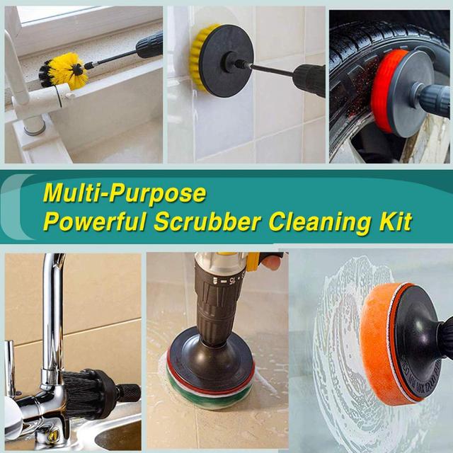 Drill Brush Scrub Pads 31 Piece Power Scrubber Cleaning Kit - All Purpose Cleaner Scrubbing Cordless Drill for Cleaning Pool Til