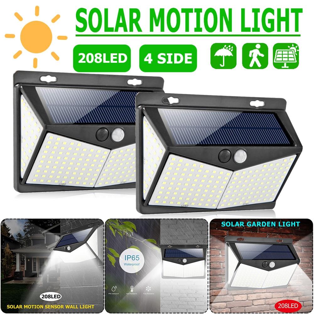 208LED Solar Power PIR Motion Sensor Wall Light Outdoor Garden Street Lamp Waterproof Solar Light
