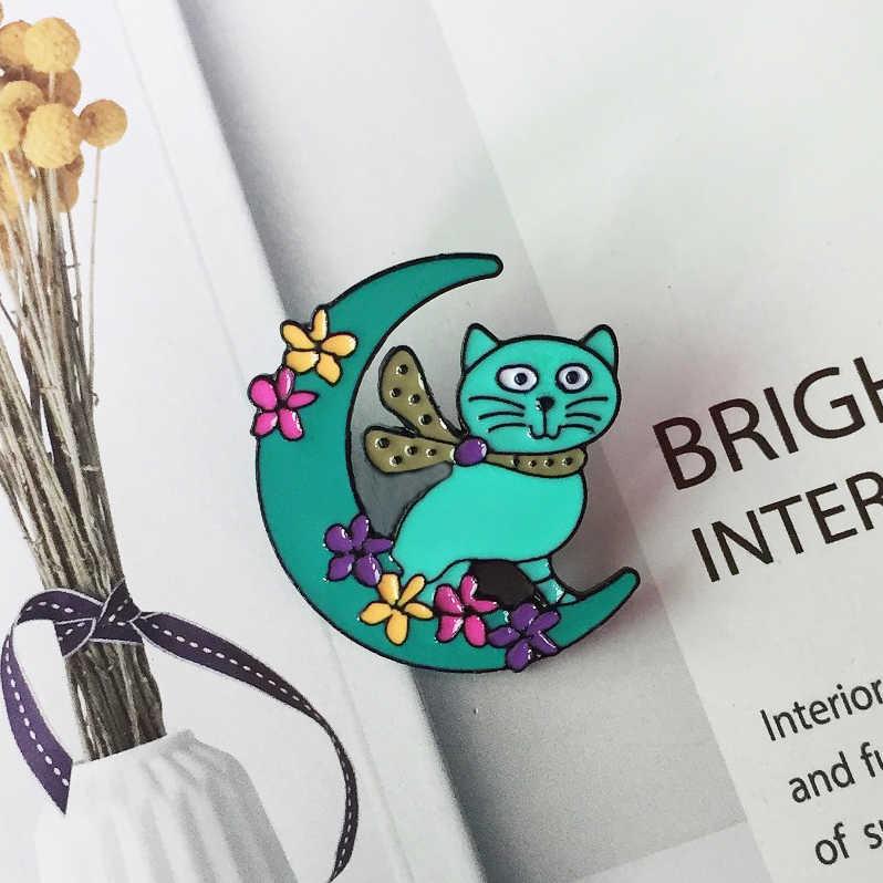 ニューグリーンピンクムーン猫ブローチ子かわいい花満月動物バッジファッションデニムバックパックバックパックペンダントジュエリーギフト