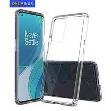 Para oneplus 9 pro caso oneplus 8 8t choque-resistente cristal transparente duro de volta magro capa fina saco claro do telefone 1 + 8 1 + 9 plus