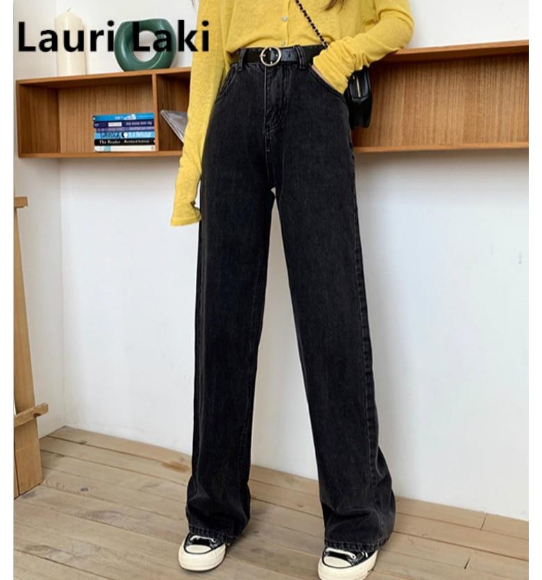 Boyfriend Jeans For Women Plus Size Black High Waist Wide Leg Jeans Vintage Straight Denim Pants Large Size Streetwear Chic