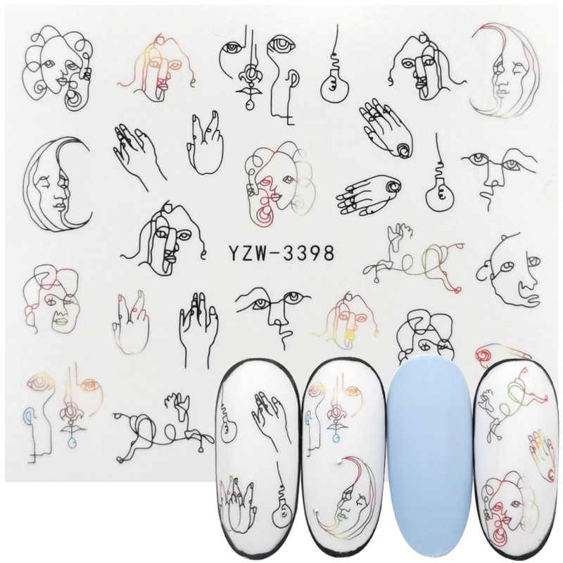 1 Sheets Letter Design Abstract Image Water Transfer Wraps Sexy Girl Nail Slider For Nails Art Decorations Manicure