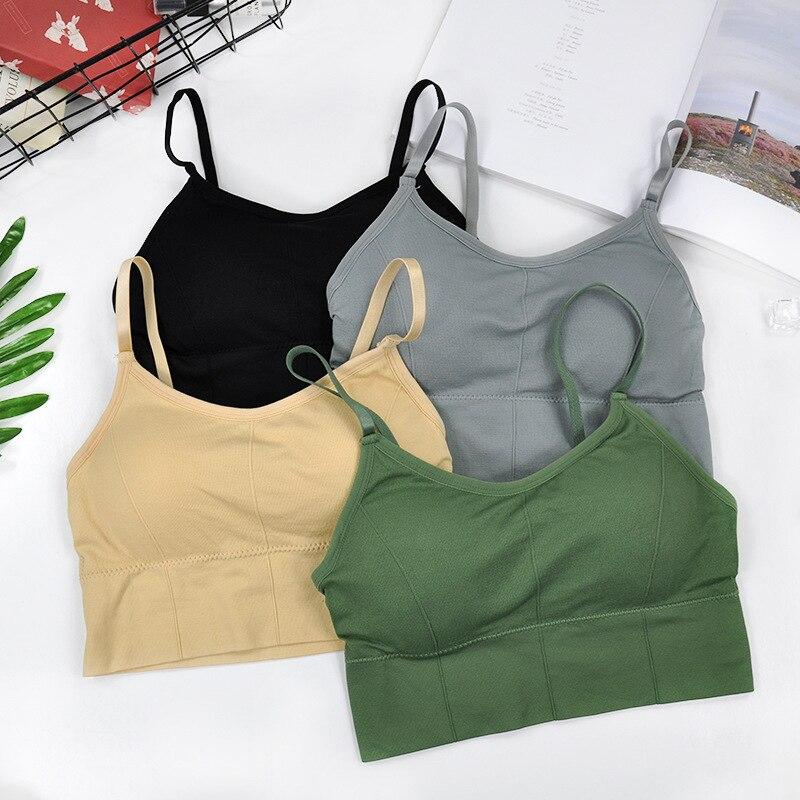 CHRLEISURE-soutien-gorge court sans couture pour femmes, débardeur de grande taille, haut Push-Up, élastique, sous-vêtements de sport