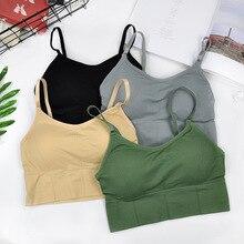 CHRLEISURE  Women's Tank  Plus Size Crop Tops Push Up Bra Sports Underwear Elastic Seamless  Bralette