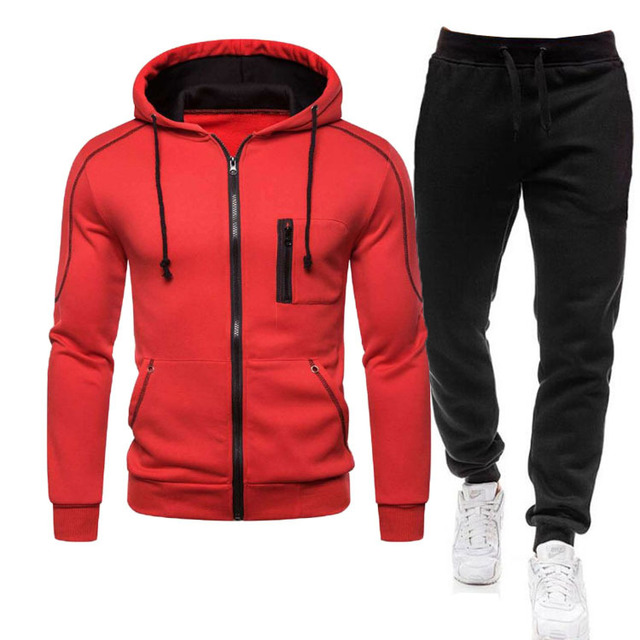 2 Pieces Sets Tracksuit Men Autumn Zipper Hoodie Sweatshirt+pants Solid Sporting Fitness Hooded Outerwear Jacket Joggers Suit 3