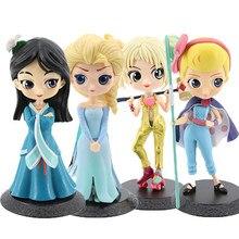 Disney q posket 15cm princesa boneca ariel emaranhado rapunzel elsa anna figura brinquedos bonecas brinquedos bolo topper decoração do bolo festa de aniversário