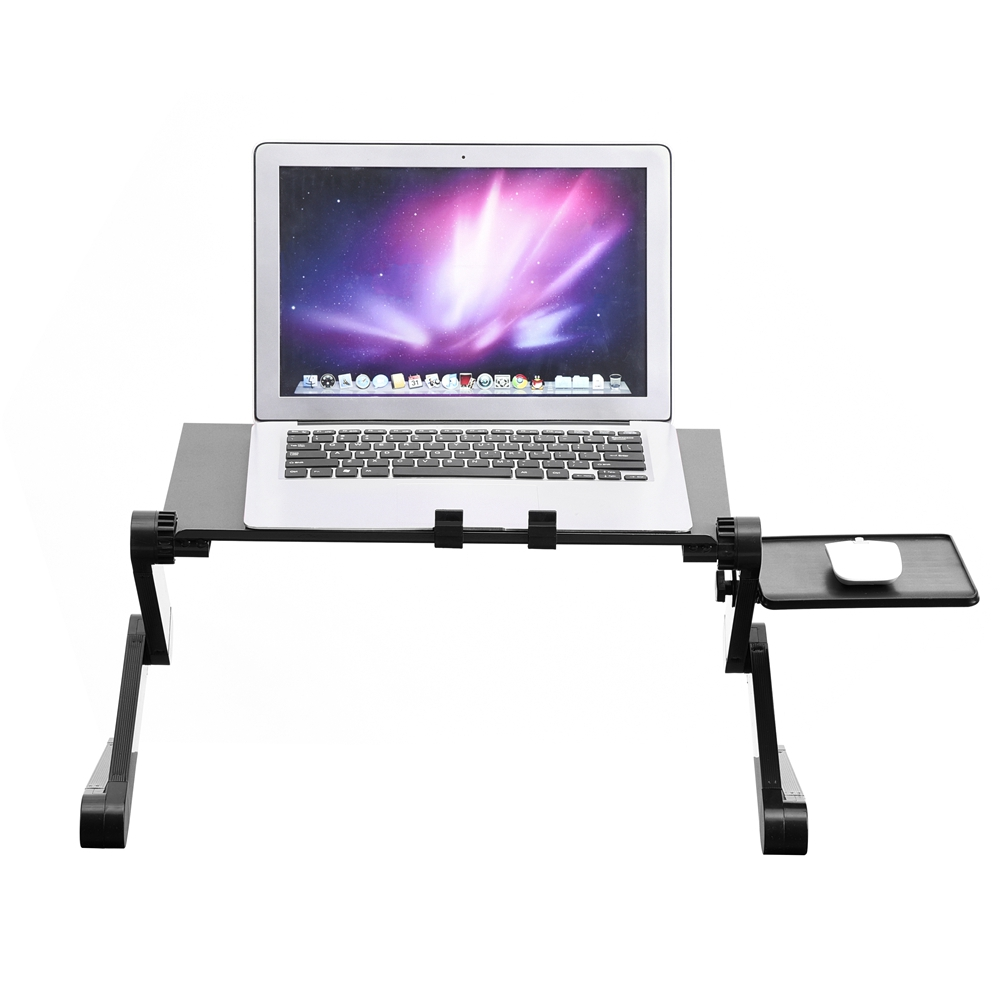 360° Adjustable Foldable Laptop Desk Table Stand Holder Built-in  2 Cooling Dual Fan & Mouse Boad