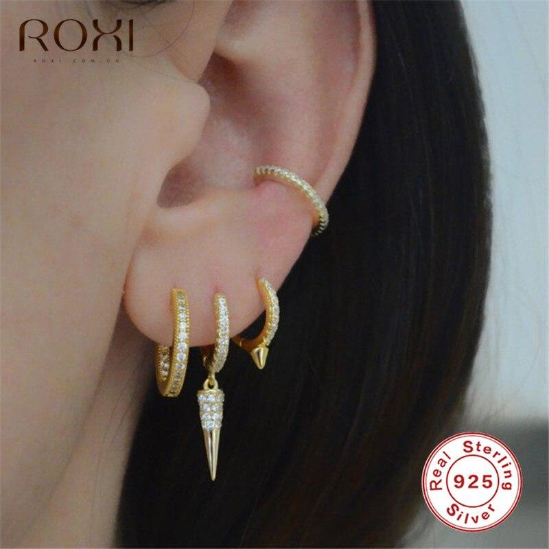 ROXI 2019 Fashion Drop Spike Hoops Earring CZ Dainty Gold Color Small Tiny Huggie Earring Geometric Delicate Mini Punk Earrings
