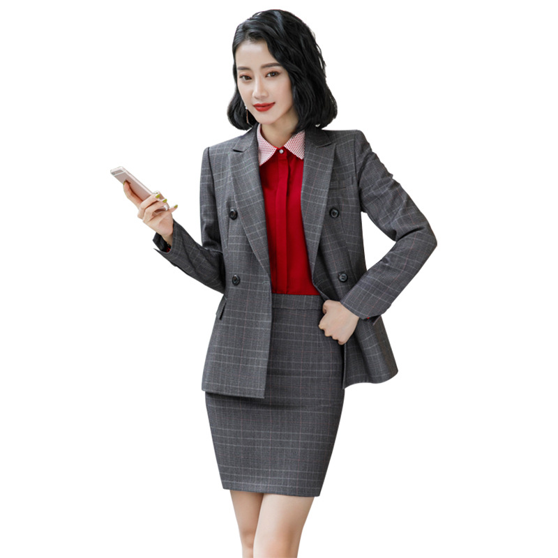 New Gray Brown Plaid Female Elegant Women's Skirt Suits Suit Dress Costumes Office Wear Blouse Skirt And Jacket Set 2 Set Piece