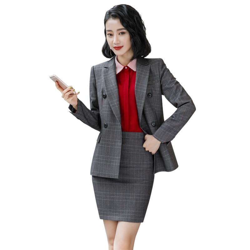 New Gray Brown Plaid Female elegant Women's Skirt Suits suit dress costumes office wear Blouse skirt and jacket set 2 set piece