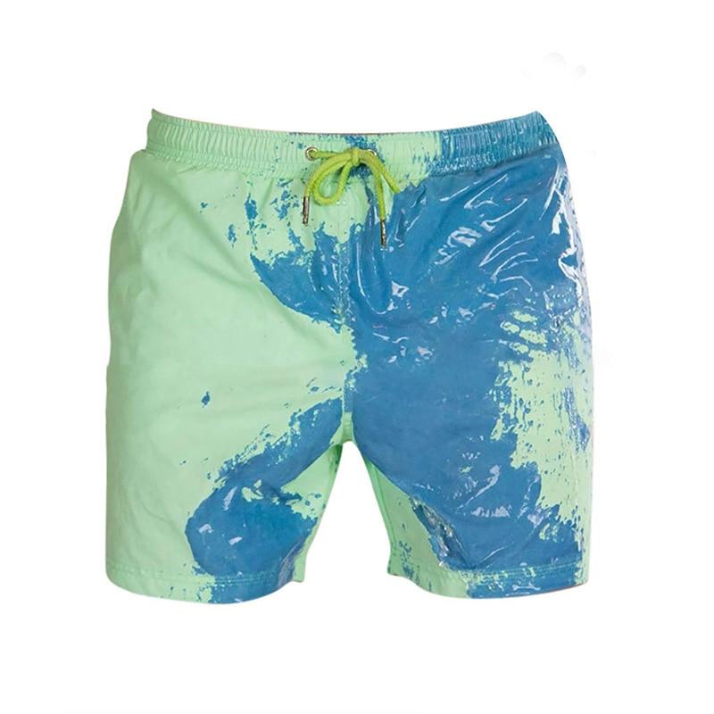 Nouveaux hommes plage courte magique changement de couleur hommes maillots de bain maillots de bain séchage rapide Shorts de Sport Boxer d'été