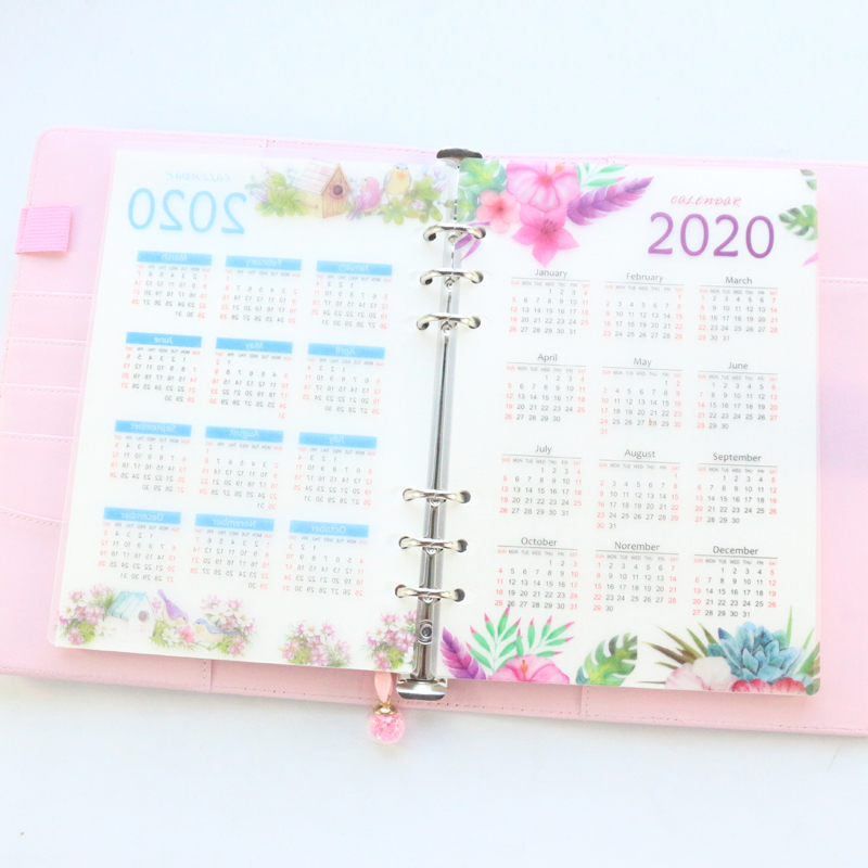 Domikee 2020 Year Calendar Cute School 6 Holes PP Index Divider For Girl Diary Binder Weekly Planner Notebooks Stationery,A5 A6