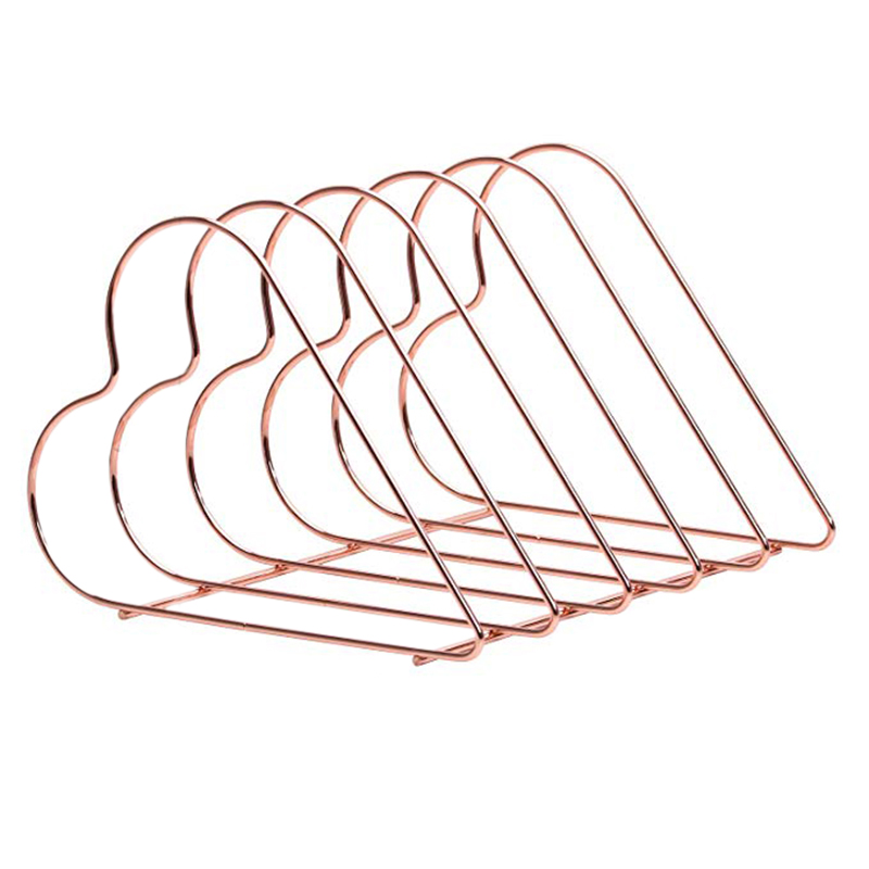 Magazine Holder File Sorter Metal 5 Slot Desk Organizer Rack For Document Folder Letter And Book Rose Gold Heart Shaped Bookshel