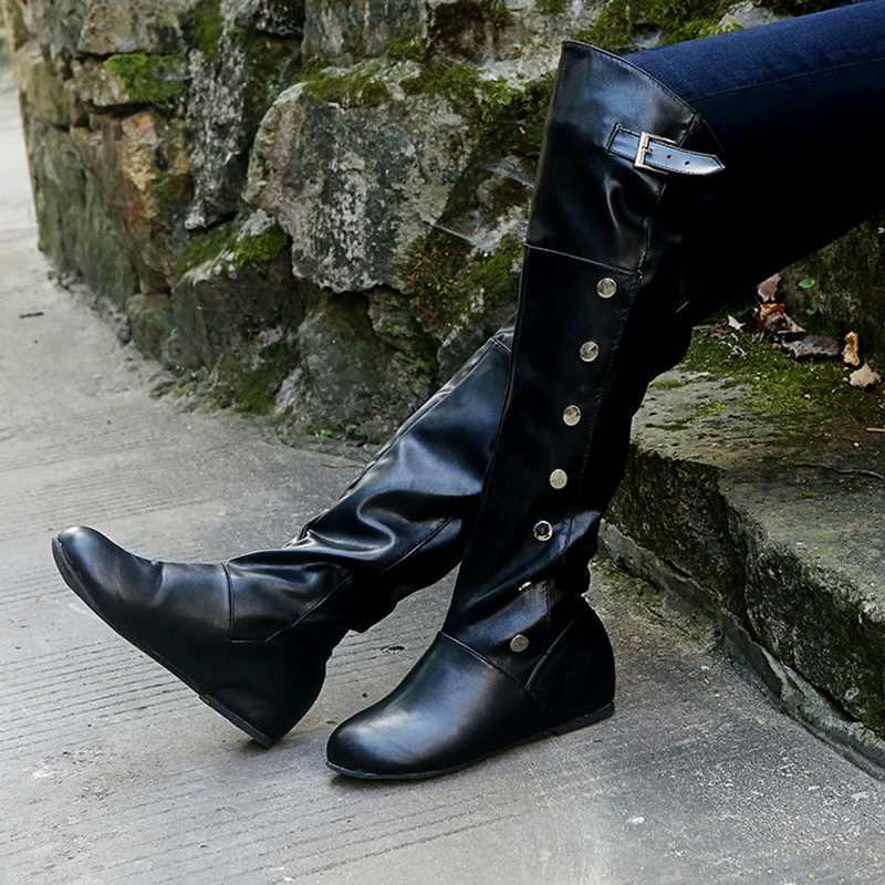 2019 ขนาด 35-43 รองเท้าใหม่รองเท้าผู้หญิงสีดำเหนือเข่ารองเท้าบูทเซ็กซี่หญิงฤดูใบไม้ร่วงฤดูหนาว lady ต้นขารองเท้าบูทสูง