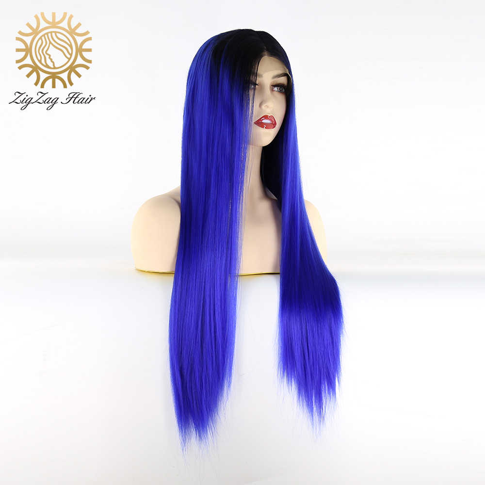Zigzag Ombre Blue Synthetische Lace Front Pruik Voor Zwarte Vrouwen Lijmloze Lange Rechte Zwart Naar Blauw 2 Tone Hittebestendige vezel Haar