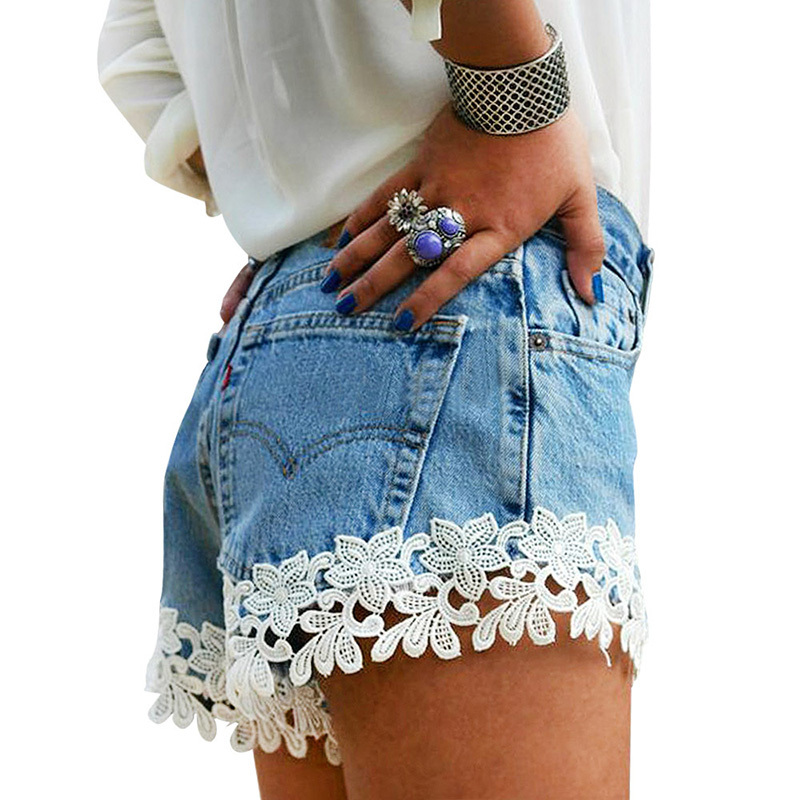 Womens Clothing Shorts Jeans Casual Solid Lace Low Waist Skinny Zipper Fly Sexy Denim Shorts Shredded Jeans Mesh Shorts Fashion