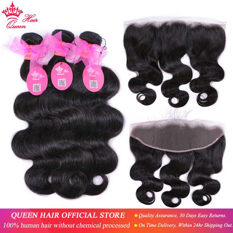 100% Brazilian Human Hair Body Wave 3 Bundles Weaves With Lace Frontal Human Hair Remy weaving Queen Hair Products Free Shipping