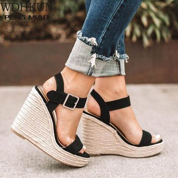 2020 New Zapatos Mujer Ladies Shoes Woman Chaussure Gladiator Women Wedge Summer Sandals Pumps Cross-tied High Heels Platform