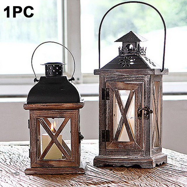 Handmade Vintage Lantern Hanging Exquisite Home European Style Gift Wood Metal Wedding Candle Holder With Handle Decoration 5