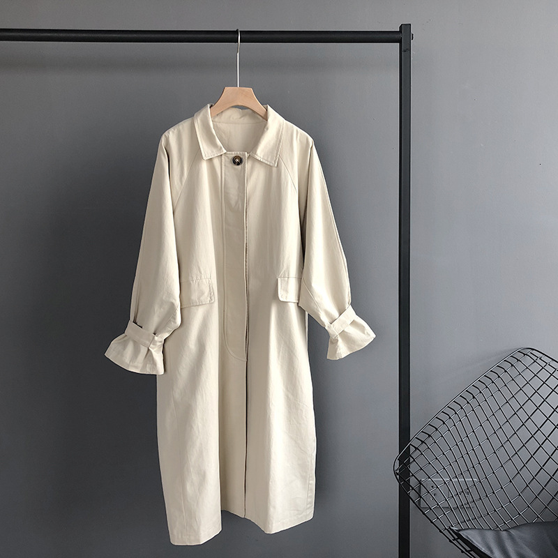 Mooirue autumn women   Trench   Coat Single Breasted Cotton Loose Lapel Loose Straight Casual Cardigan Female Tops