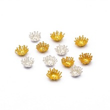 Findings Beads-Cap Jewelry-Making Gold Double-Flower Silver-Color Women for Core-Shape