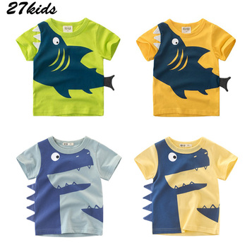 27kids Tractors Shark Pattern Boys T-shirts for Kids Clothes Summer Baby Tops Shirts Cotton Children t-shirts 2-7Years Clothing