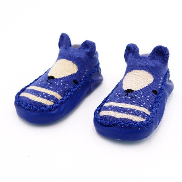 Г. Модные детские носочки с резиновой подошвой, носки для младенцев осенне-зимние детские носки-тапочки для новорожденных нескользящие носки с мягкой подошвой - Цвет: Blue bear