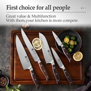 Image 5 - XINZUO yüksek kalite 3.5 + 5 + 8 + 8 + 7 inç soyma yardımcı Cleaver şef Santoku bıçak paslanmaz çelik pişirme araçları mutfak bıçakları setleri